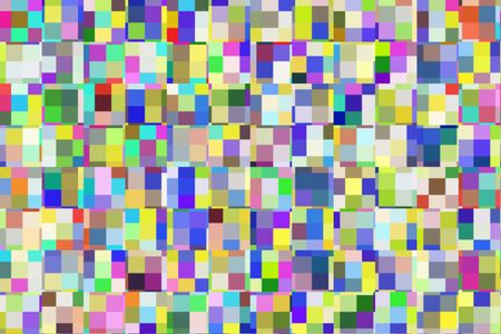 Bright kaleidoscopic mosaic of multicolored squares and rectangles in rows and columns