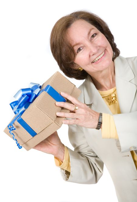 business woman happy with gift over a white background