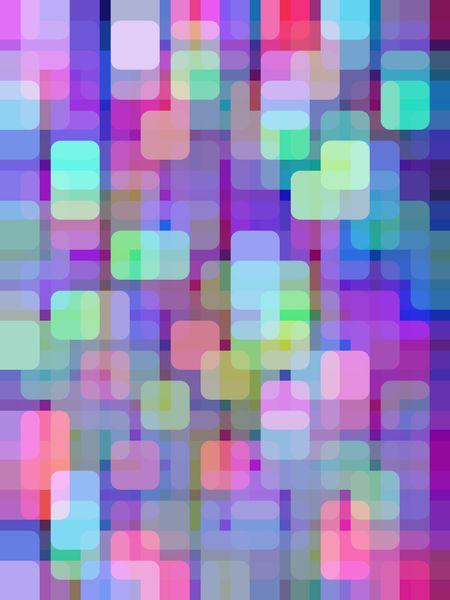 Multicolored abstract mosaic of rounded squares overlapping for 3-D effect