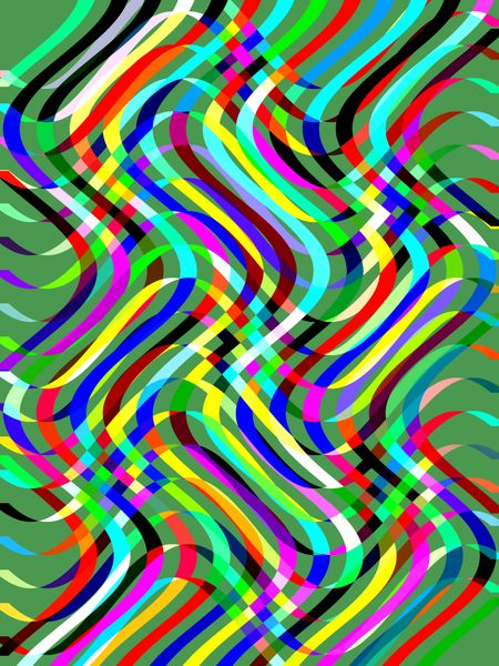 Festive abstract illustration of overlapping ribbony waves on green