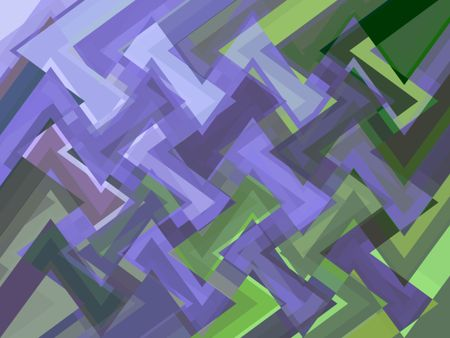 Zigzag abstract of fragmented sine waves that are mostly shades of blue or green