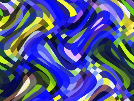 Multicolored abstract of swirling, overlapping S-curves for decoration and background