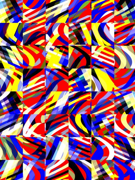 Multicolored collective abstract mosaic of squares on a grid that each contain a variety of polygons with various colors