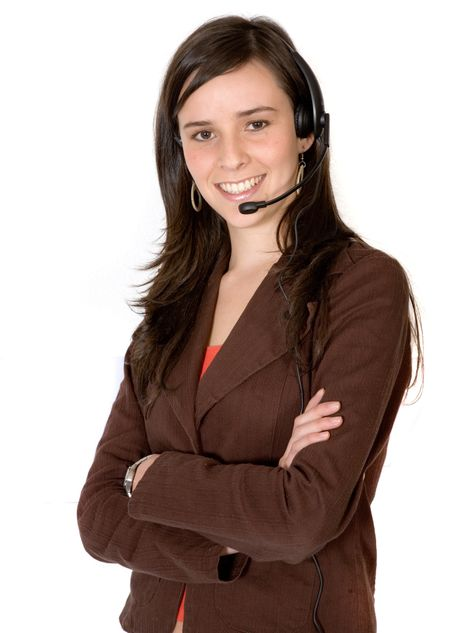business girl with headset over a white background