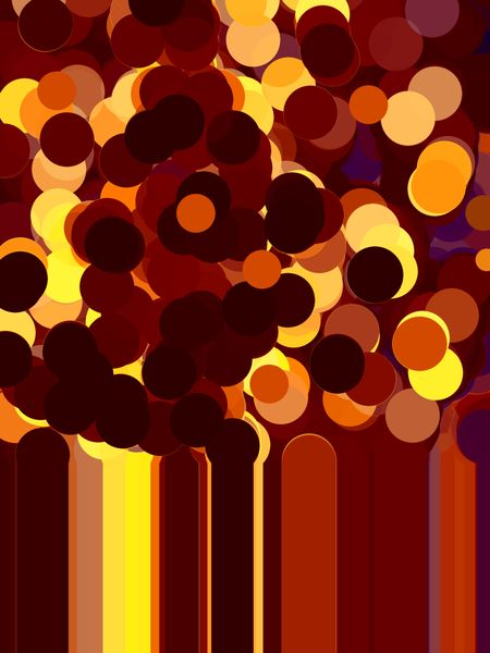 Festive abstract illustration of a cloud of bubbles or balloons of uniform size and solid color, some overlapping others for 3-D effect