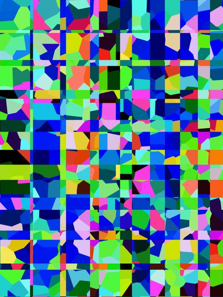 Kaleidoscopic abstract mosaic of squares and rectangles that contain irregular polygons of various colors for themes of variety and complexity