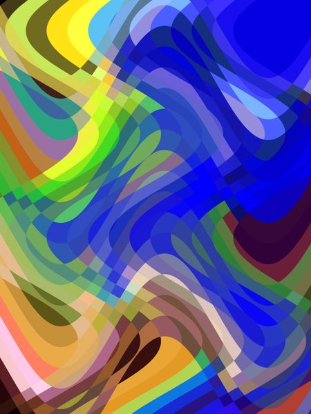 Multicolored abstract of overlapping sine waves that illustrates transition and interaction
