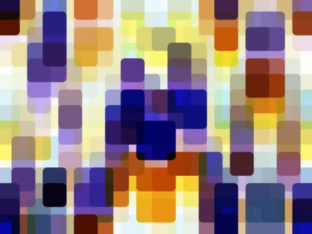 Multicolored abstract of squares with rounded corners overlapping for illusion of three dimensions