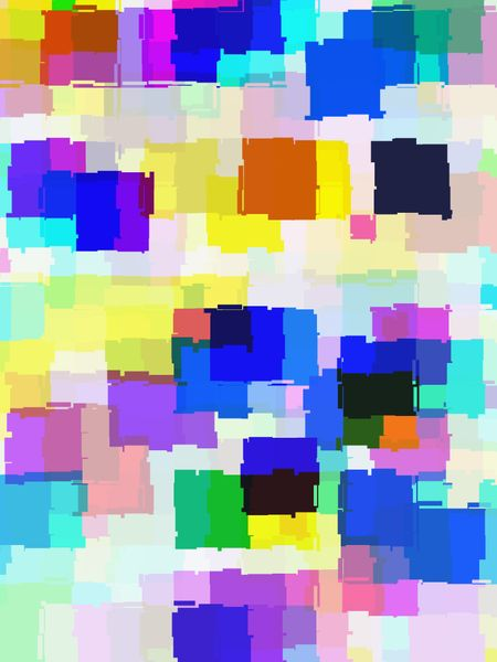 Multicolored abstract of overlapping notched, irregular squares