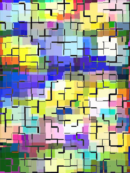 Mosaic abstract in notched blocks of various colors with tiled effect