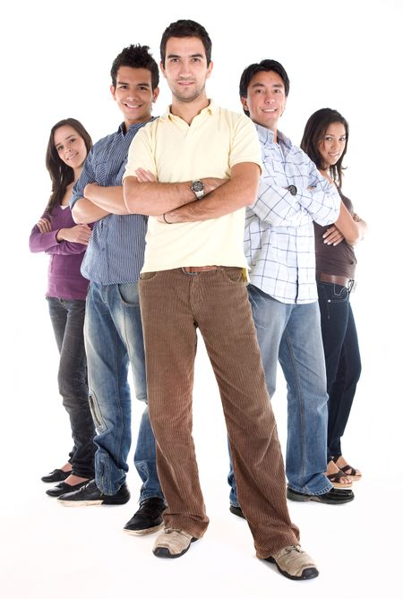 casual group of young people smiling isolated over a white background