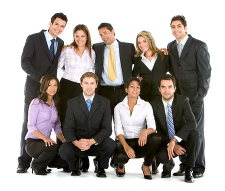 happy business team isolated over a white background
