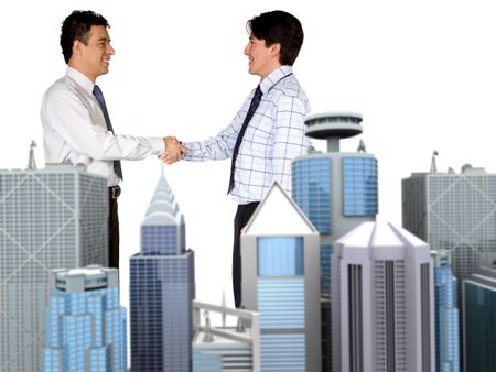 corporate business deal over white with focus on people