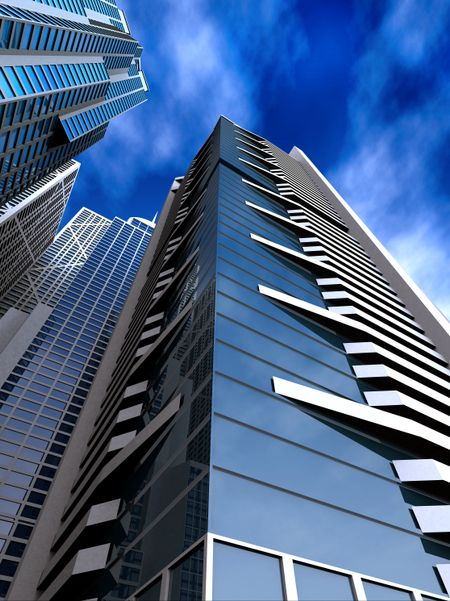 corporate buildings in perspective towards the sky