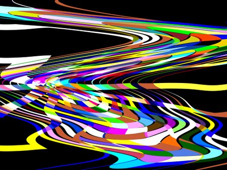 Abstract illustration of a ribbony way to a multicolored wormhole in outer space