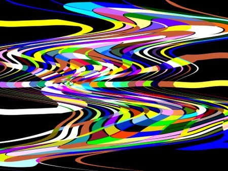 Theoretical lines of force: Imaginary multicolored abstract of alien spacecraft with a wormhole at its core traveling in outer space