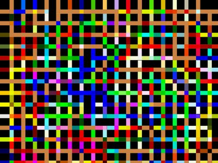 Multicolored grid of crisscrossing stripes on black