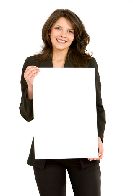 business woman holding a banner add isolated over a white background