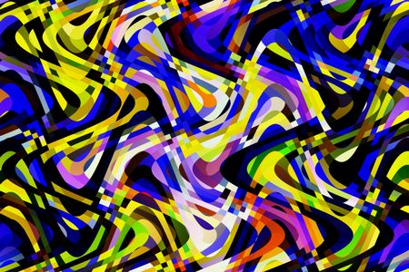 Bold multicolored abstract of spaghetti-like sine waves overlapping with effect of energetic complexity