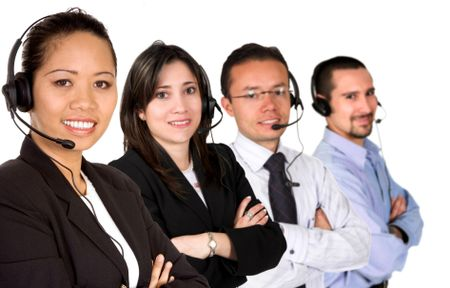 customer service team led by an asian business woman over a white background