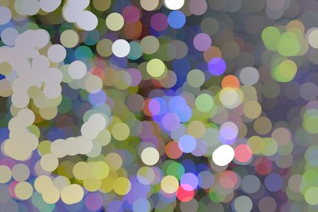 Festive multicolored abstract of solid circles like so many bubbles or holiday lights