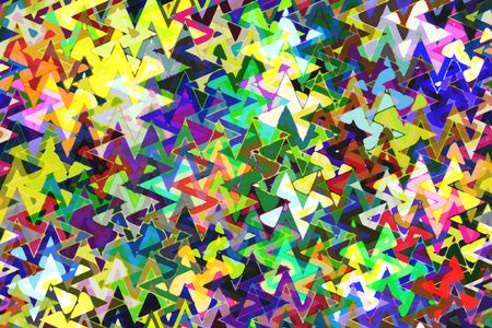 Complex kaleidoscopic multicolored abstract of fragmented sine waves overlapping in zigzags for psychedelic effect