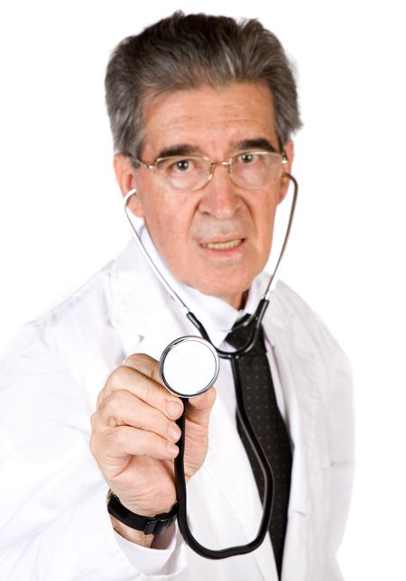 senior male doctor over a white background with a stethoscope (focus on stethoscope )