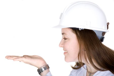 female architect holding something on her hand over a white background