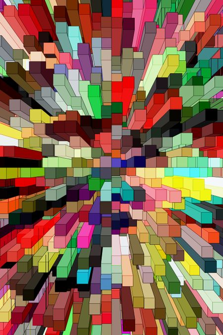 Abstract illustration of a multicolored downtown, for concepts of urban multiplicity and proximity