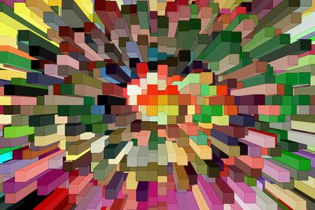 Geometric abstract illustration of skyscrapers of various colors