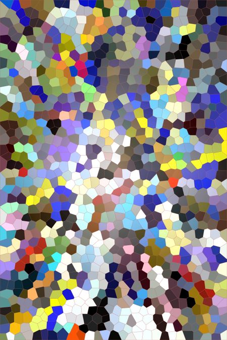 Multicolored abstract of irregular polygons, mostly pentagons and hexagons, with the effect of stained glass