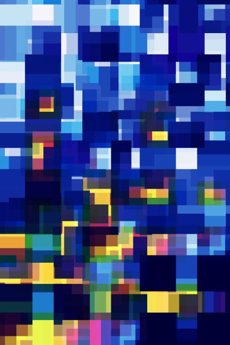 Abstract of urban sunrise: Multicolored mosaic of overlapping squares and rectangles like windows of skyscrapers reflecting the rising sun