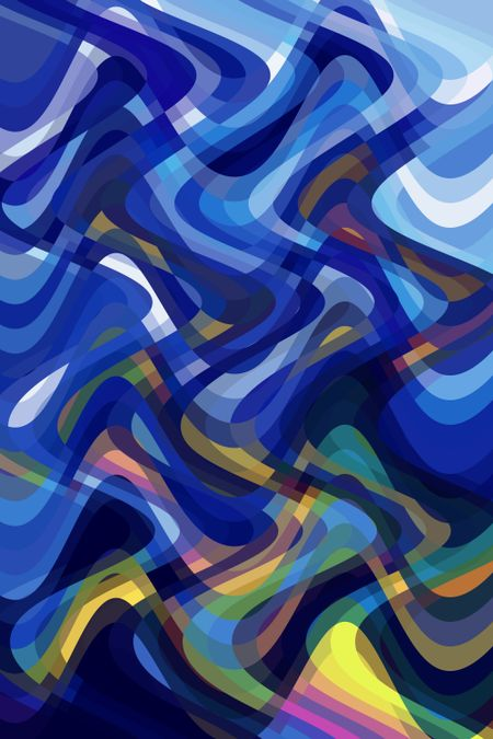 Multicolored abstract illustration of crisscrossing sine waves with snazzy sinuosities