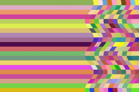 Straightness versus waviness: Multicolored abstract of duality and coexistence