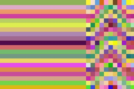 Two multicolored patterns in one abstract: Parallel bars at left flush with narrower mosaic at right for concepts of duality and coexistence