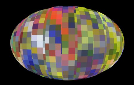Illustration of Easter egg decorated with a pattern of multicolored bands, isolated on black background