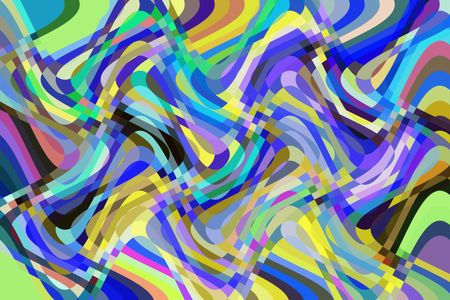 Ribbony multicolored abstract of sine waves overlapping vertically and horizontally to illustrate complexity and multiplicity