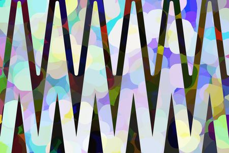 Varicolored abstract of triangular waves superimposed on rounded pastel polygons