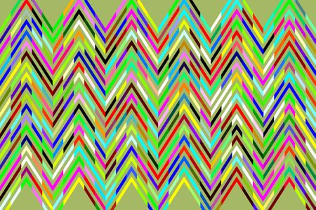 Geometric abstract of multicolored sine waves in a zigzag pattern on light green background