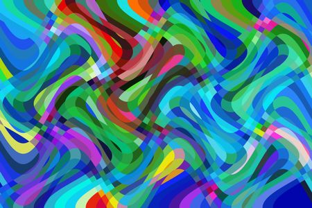 Abstract illustration of multicolored crisscrossing oscillation of a theoretical flux capacitor for time travel