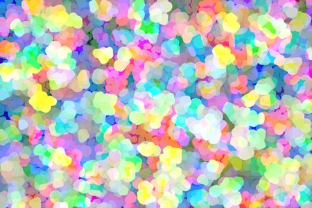 Impressionistic summery multicolored abstract of rounded pastel polygons in profusion, like so many wildflowers, with much overlapping for three-dimensional effect