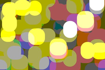 Posterized varicolored abstract of large, overlapping rounded polygons for decoration and background