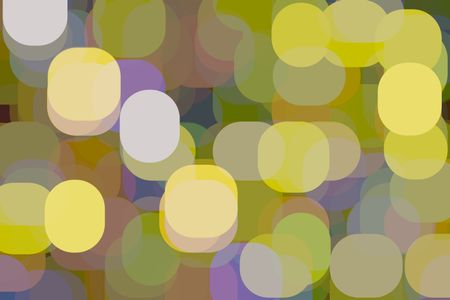 Abstract multicolored illustration of large ovals and rounded squares overlapping for 3-D effect, like a block or two of glowing, out-of-focus city lights