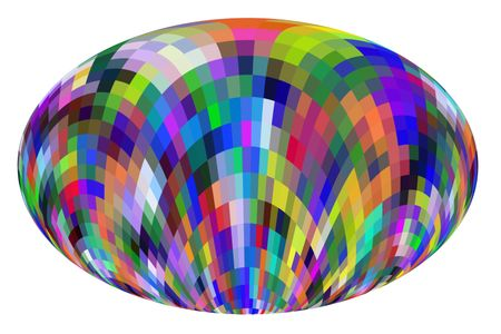 Easter egg decorated with multicolored mosaic pattern of quadrilateral solids in successive curves, isolated on white