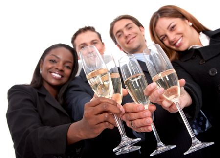 business team at a party over a white background - focus is on glasses