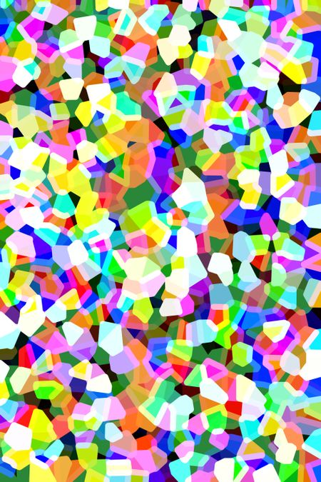 Snazzy multicolored abstract of irregular polygons overlapping for 3-D effect, with the brightest in the foreground