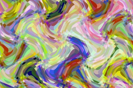 Multicolored abstract of sine waves overlapping vertically and horizontally with checkered areas of intersection, for themes of variety, changeability, and transformation