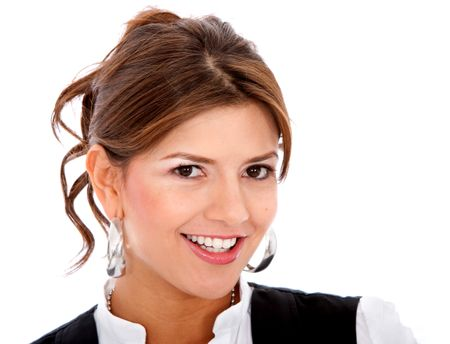business woman smiling isolated over a white background
