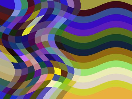 Wavy compound abstract of a multicolored mosaic and a stack of parallel stripes for themes of pressure, flexibility and transformation
