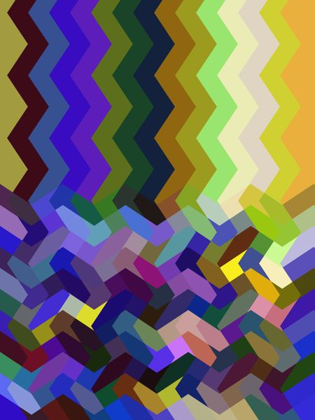 Multicolored compound abstract of zigzag stripes above a zigzag mosaic